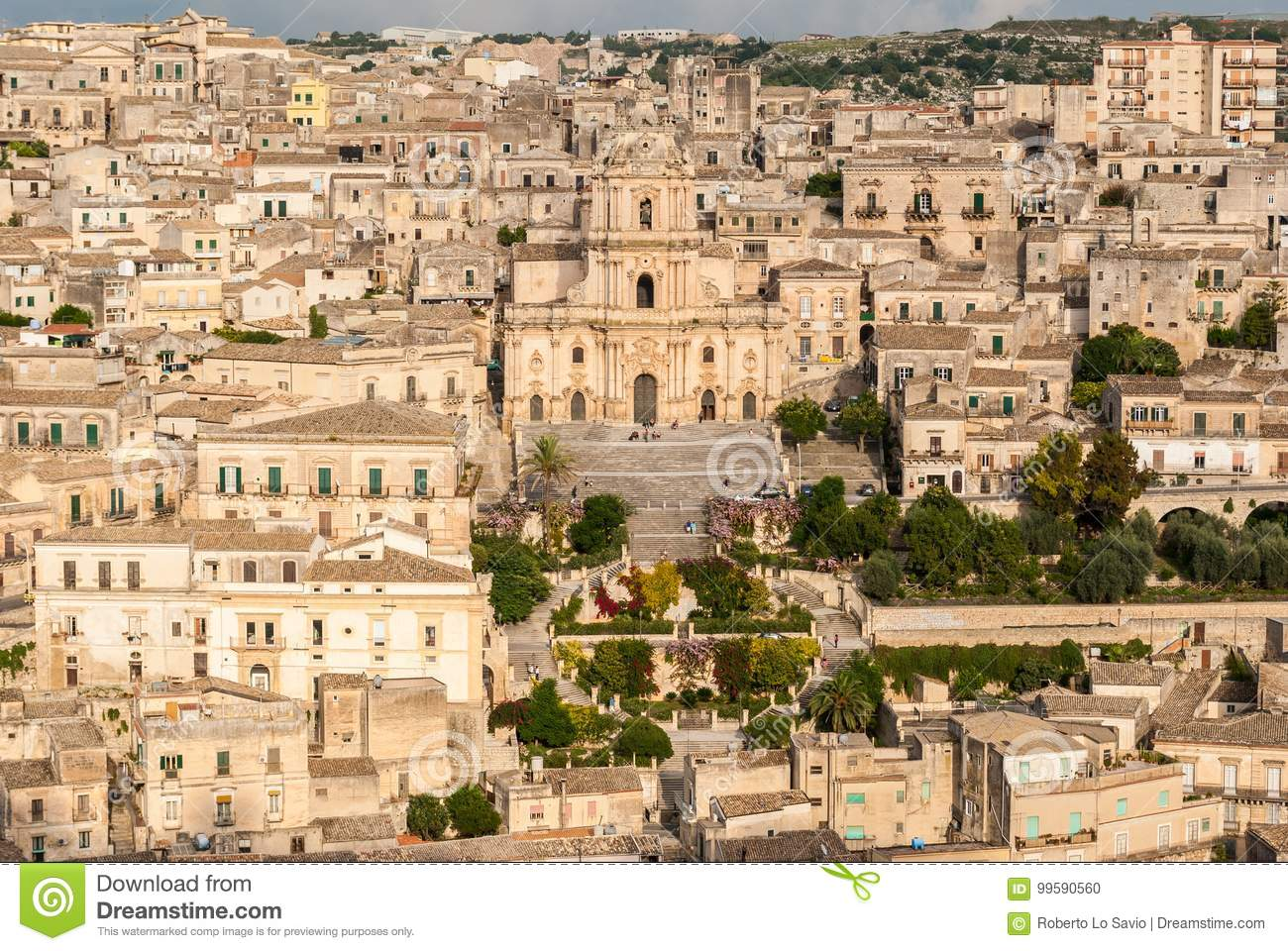 Panoramic view of Modica, with the cathedral of San Giorgio