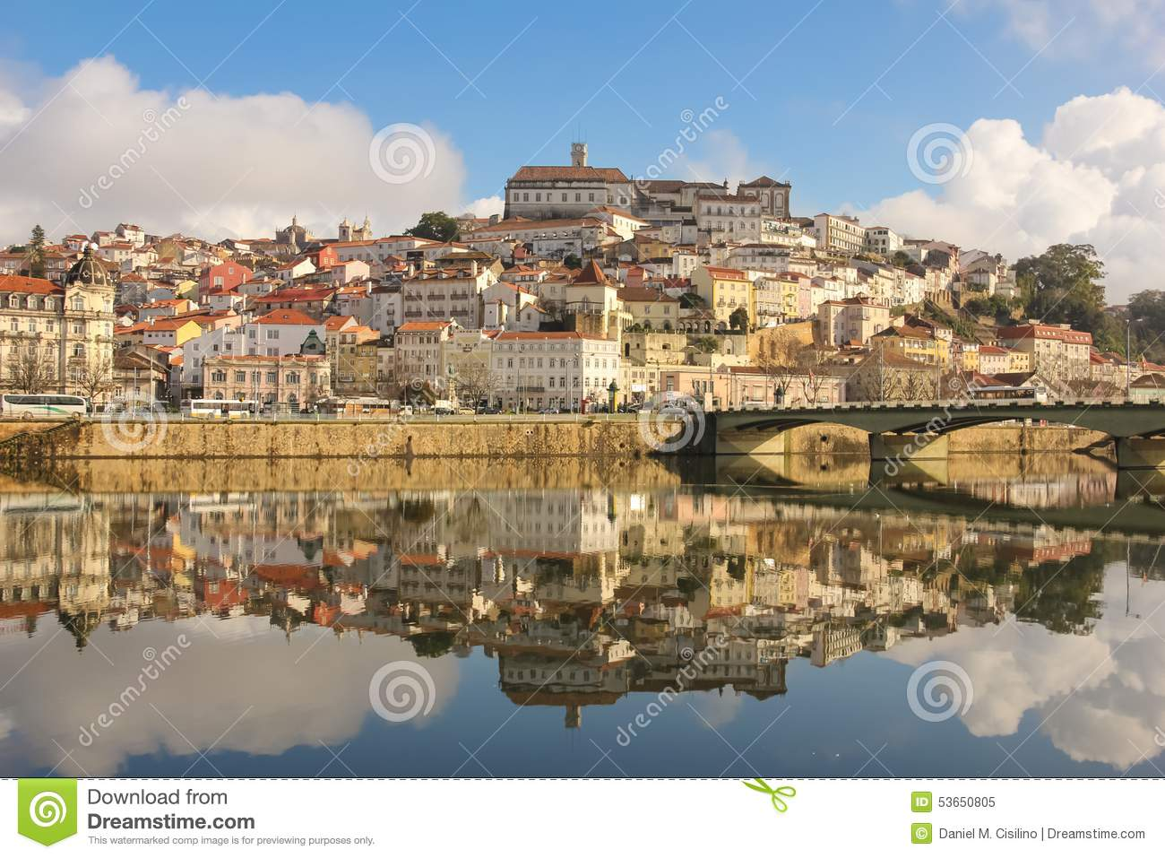 Panoramic view and Mondego river. Coimbra. Portugal