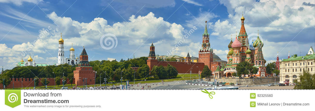 Panoramic view on Moscow Red Square, Kremlin towers, stars and Clock Kuranti, Saint Basil Cathedral church Ivan bell tower. Panora