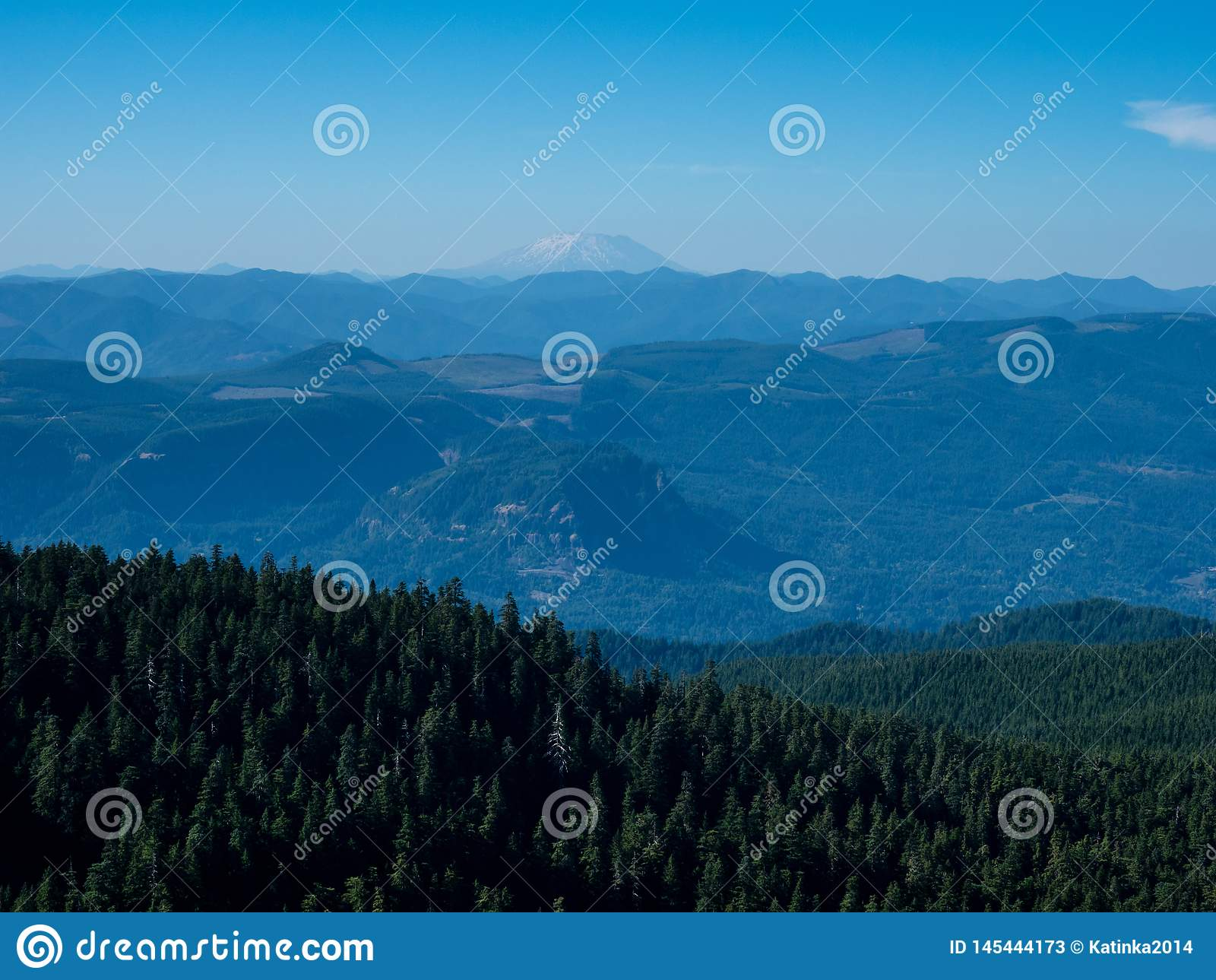 Panoramic view from Sherrard Point on Larch Mountain - Oregon, USA