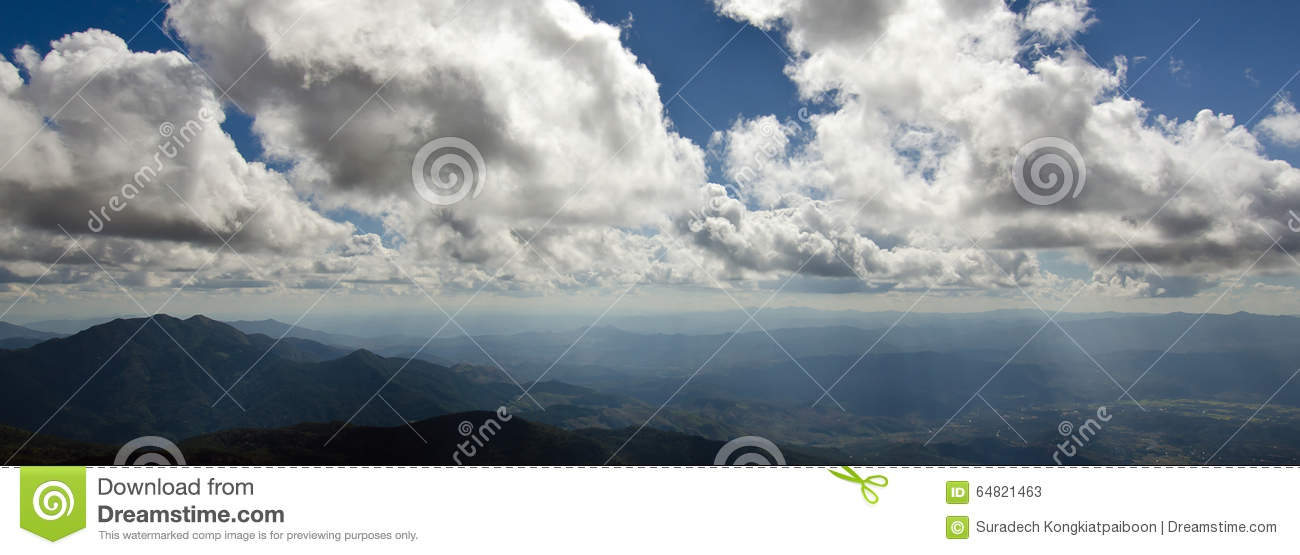 Panoramic View Of Mountain And Cloudy Sky At The Top View ...