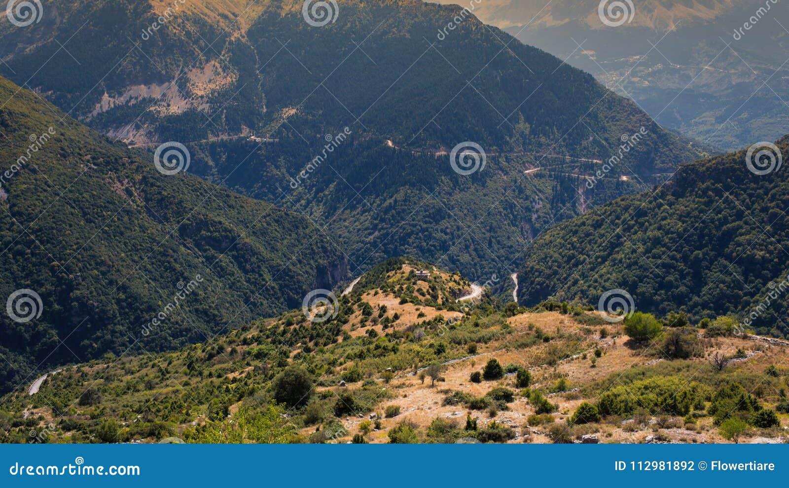 Panoramic view of mountain in National Park of Tzoumerka, Greece Epirus region. Mountain