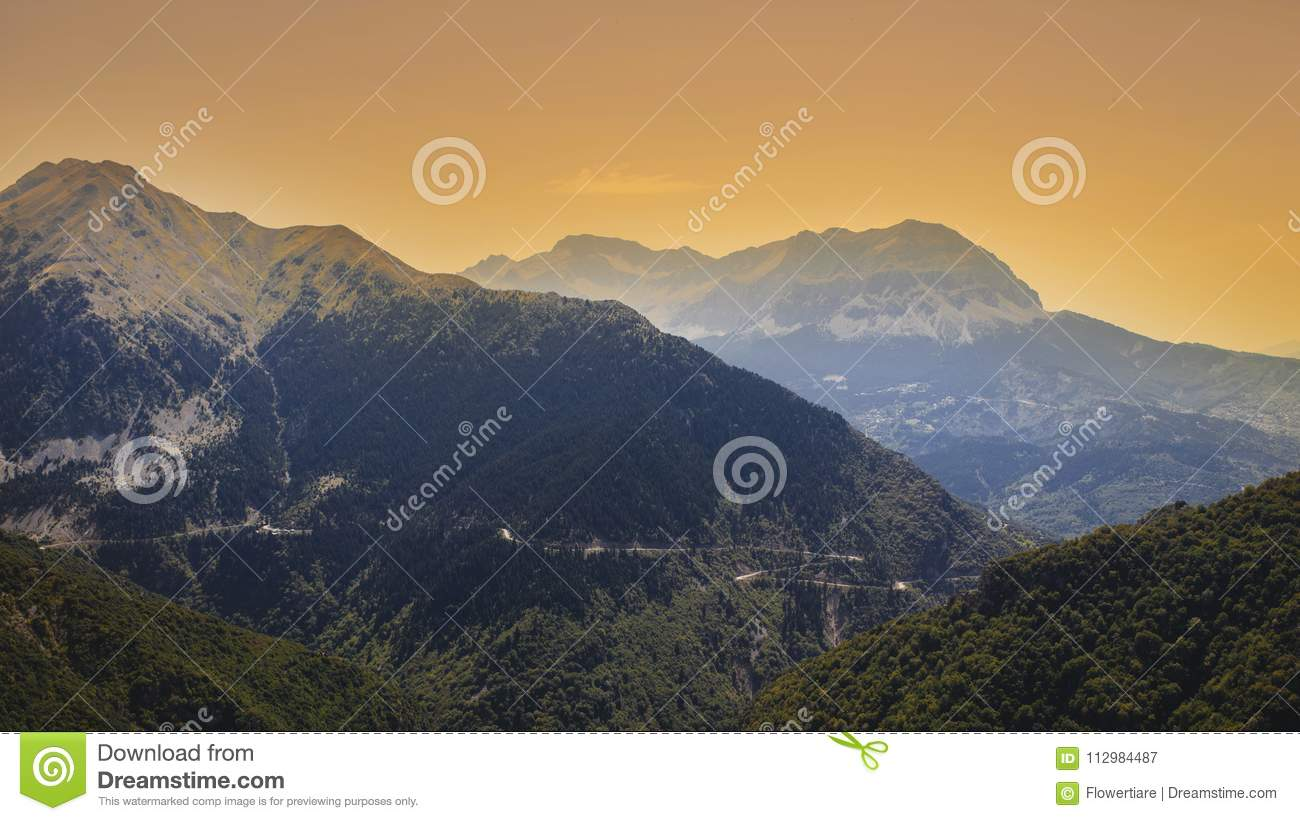 Panoramic view of mountain in National Park of Tzoumerka, Greece Epirus region. Mountain in the clouds