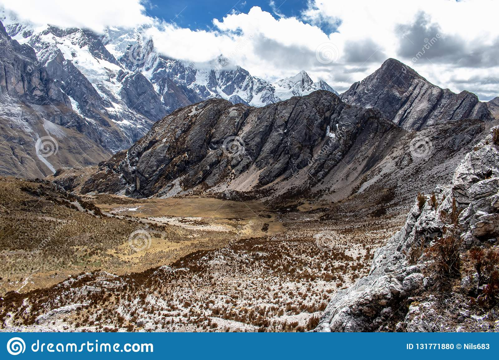 Panoramic View of mountains in the Cordillera Huayhuash, Andes Mountains, Peru