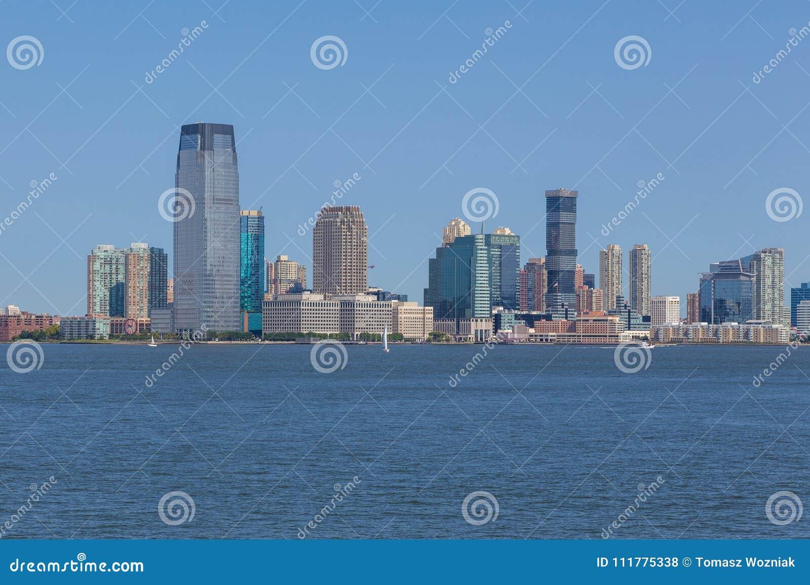 Panoramic view of New Jersey city skyline.