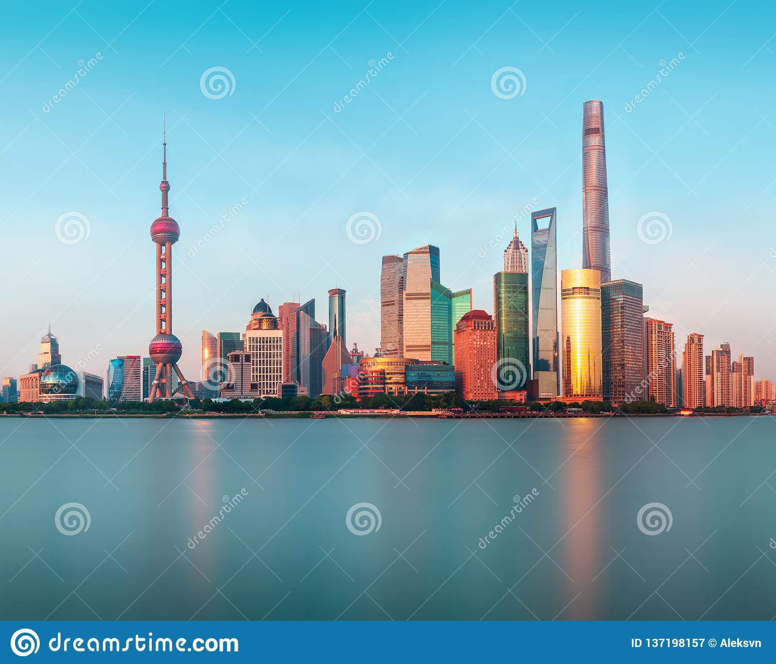 Panoramic View of the new modern district of Shanghai Pudong