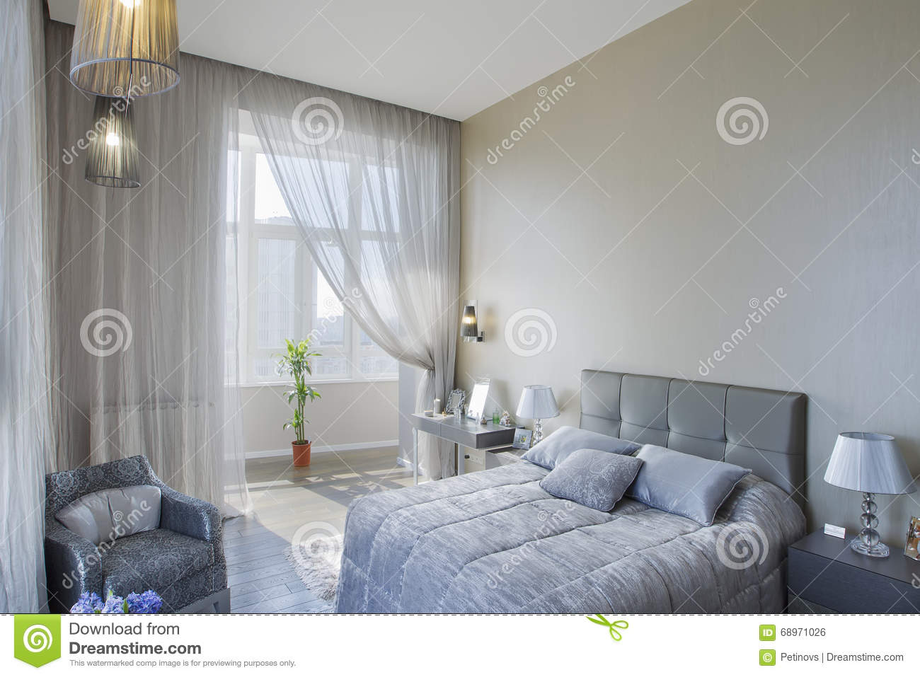 Panoramic view of nice cozy bedroom stock photo image of for Designhotel maastricht comfort xl