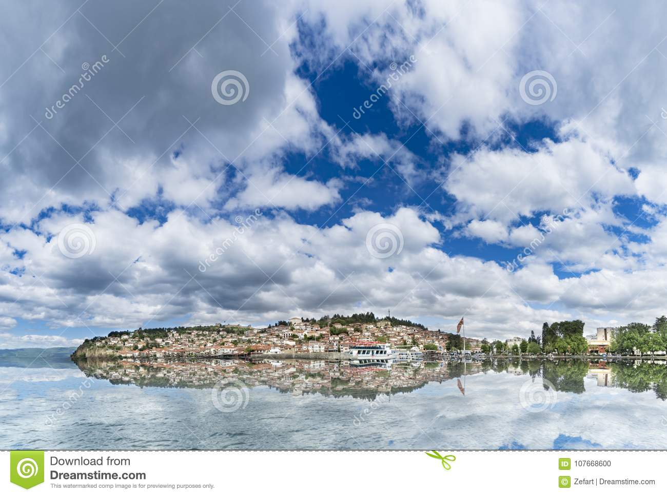 Panoramic view of Ohrid lake with nice water reflection