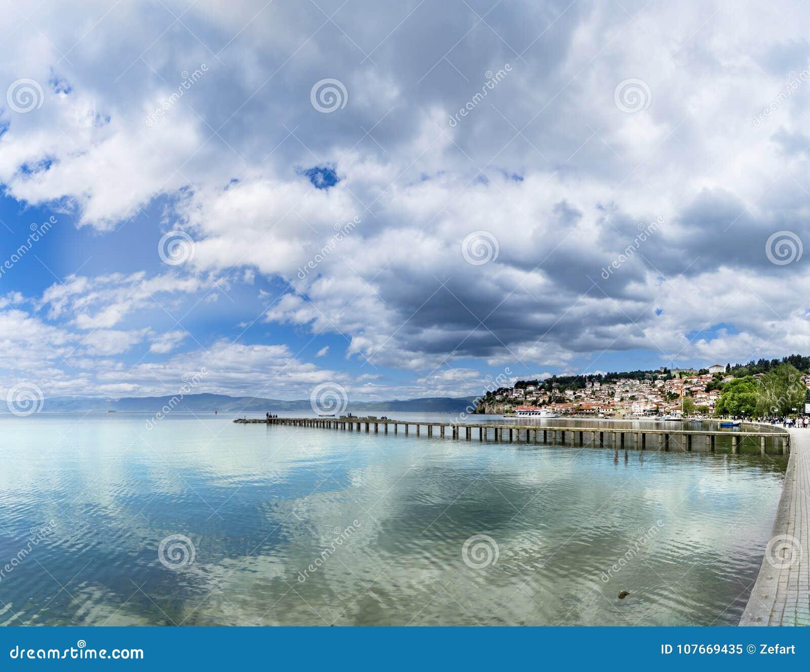 Panoramic view of Ohrid lake