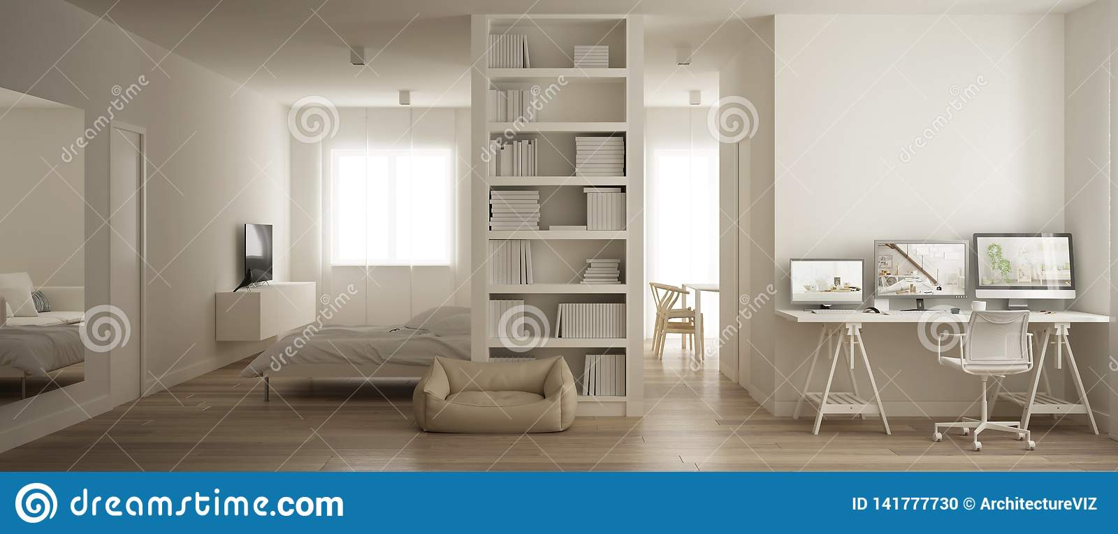 Panoramic View Of One Room Apartment With Murphy Wall Bed Living