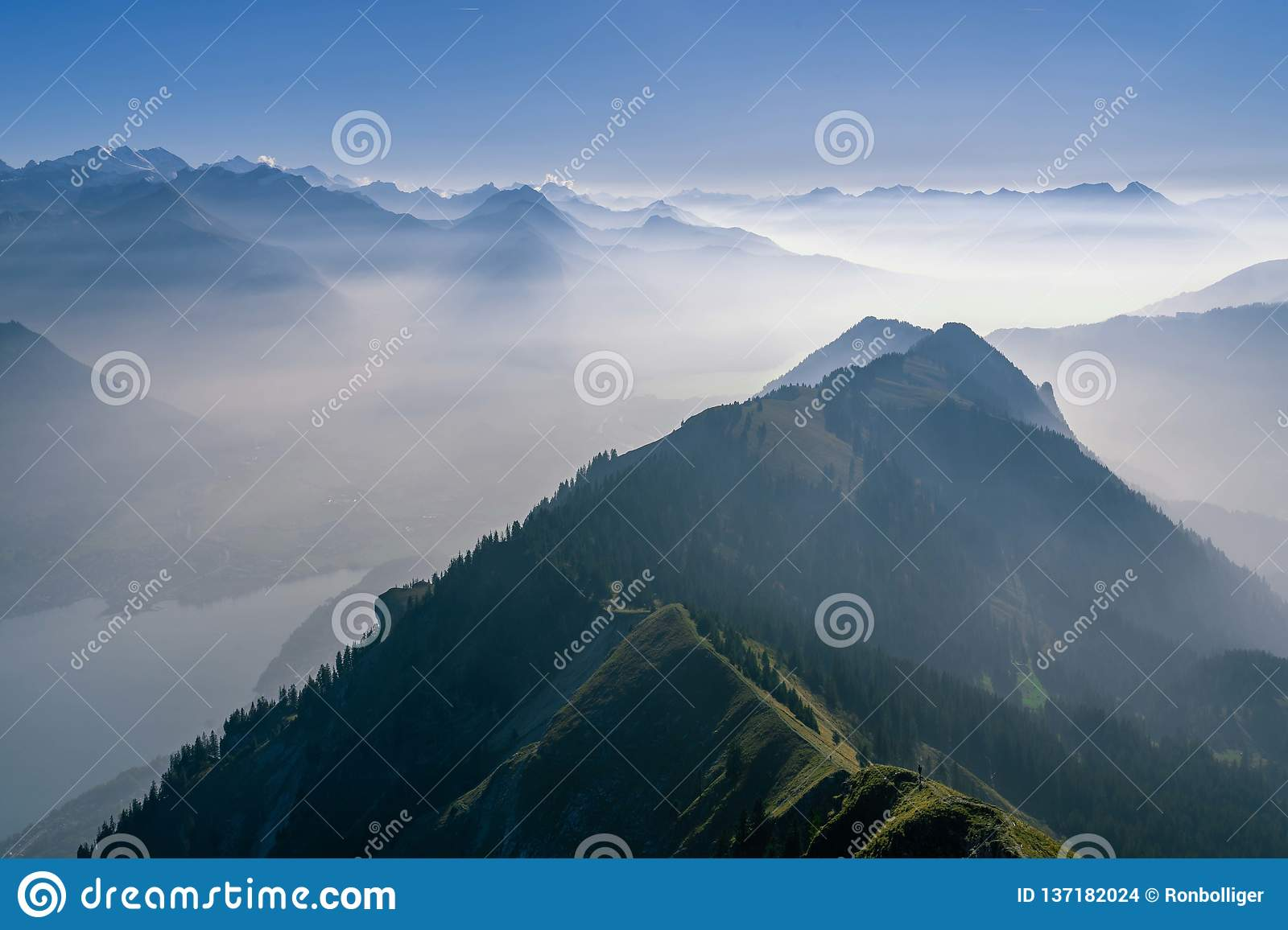 Panoramic view over the Swiss alps