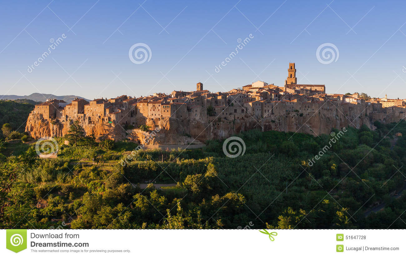 Panoramic view of Pitigliano famous village of tuscany Maremma