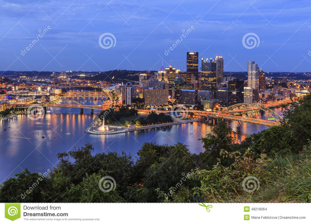 Panoramic view of Pittsburgh in twilight