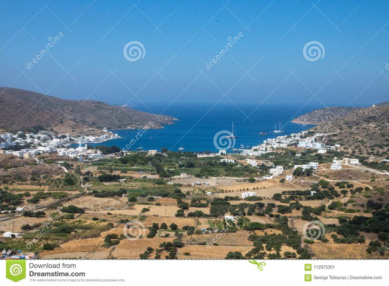 Panoramic view from the port of Amorgos at daytime.