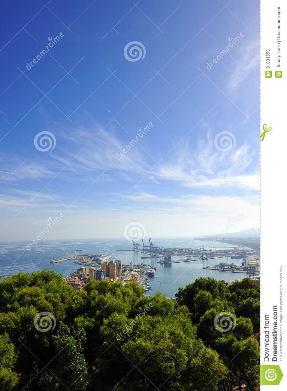 Panoramic view of the port of Malaga, Andalusia, Spain