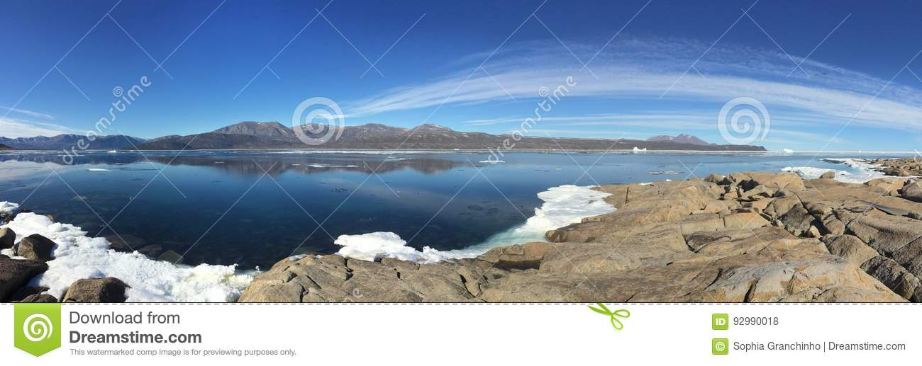 A panoramic view from Qikiqtarjuaq, a Inuit community in the high Canadian arctic located on Broughton Island