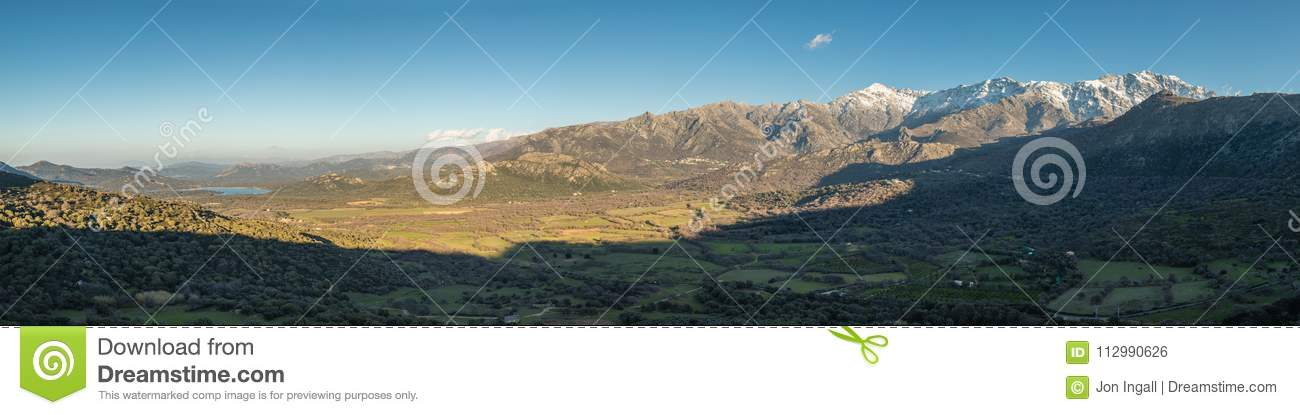 Panoramic view of Regino Valley and mountains in Corsica