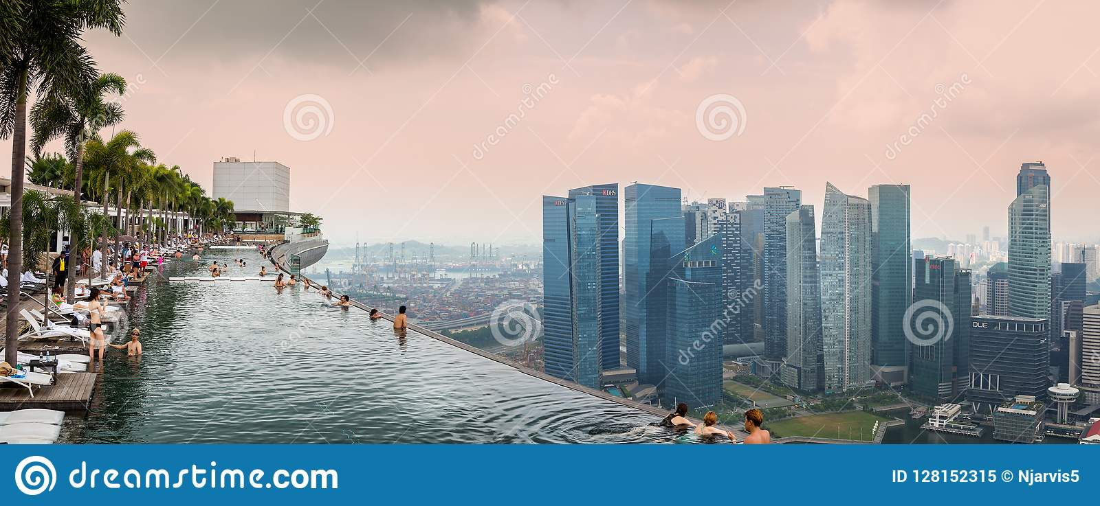 Panoramic View Of The Roof Top Swimming Pool At The Marina Bay Sands