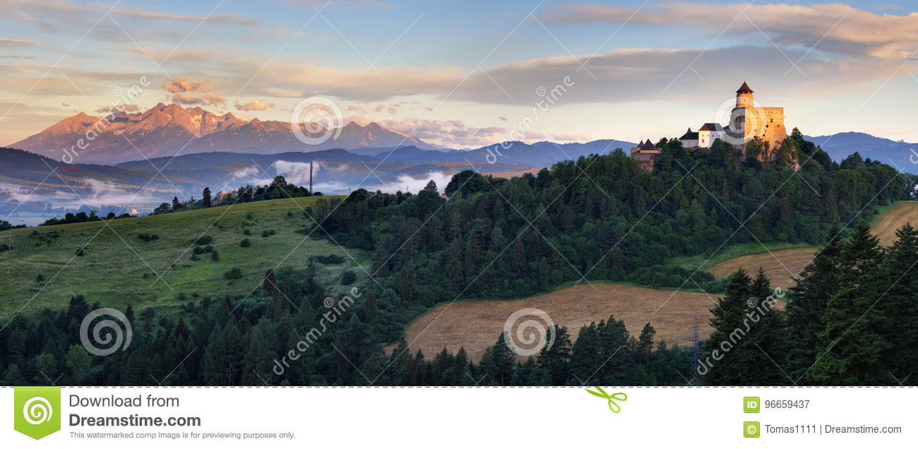 Panoramic view of Slovakia with Tatras moutain and Stara Lubovna castle