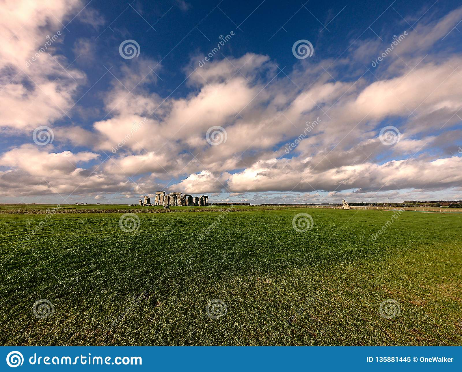 Panoramic view of Stonehenge monument.