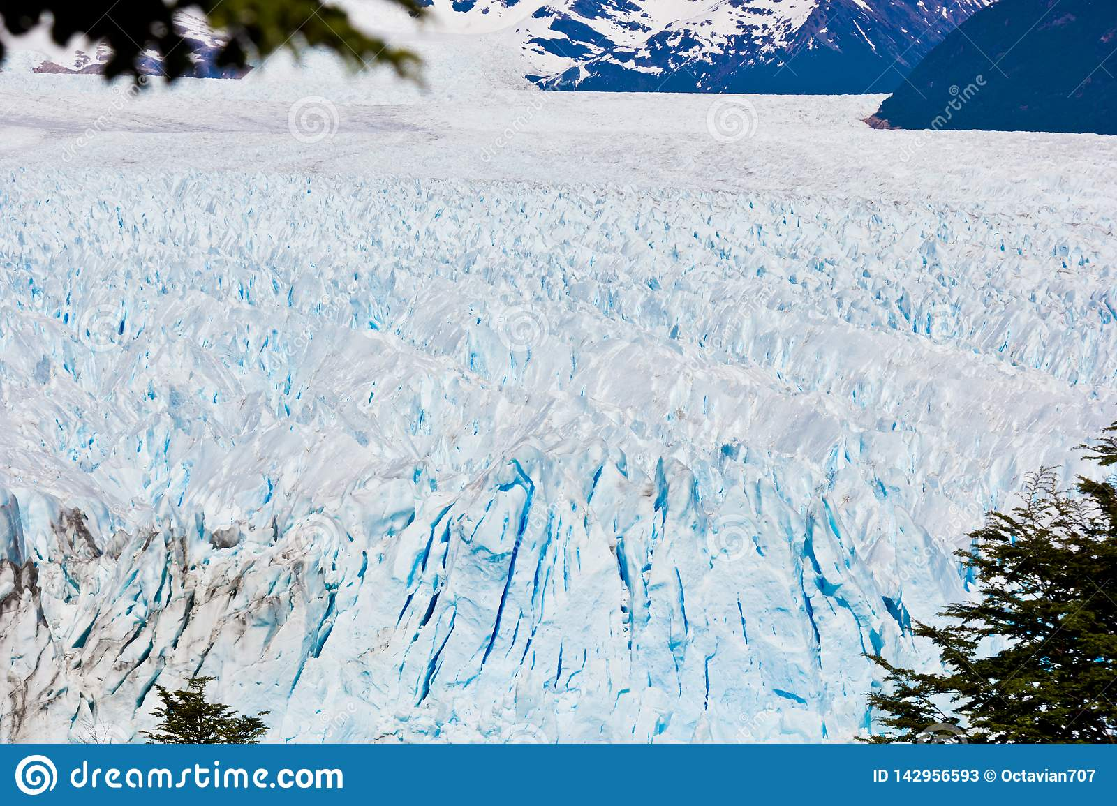 Panoramic view of surface of ice glacier in Chile
