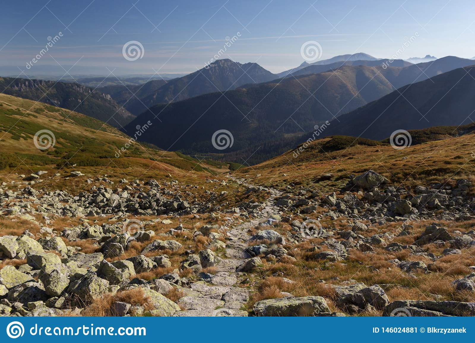 Panoramic view of Tatra mountains in Poland
