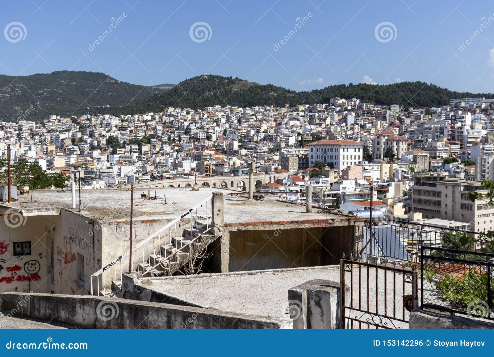 Panoramic view to city of Kavala, Greece