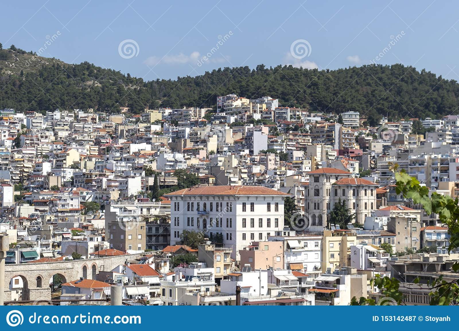 Panoramic view to city of Kavala, Greece
