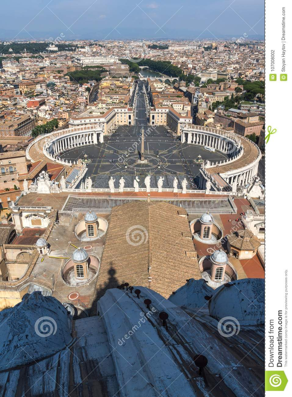 Panoramic View To Vatican And City Of Rome From Dome Of St
