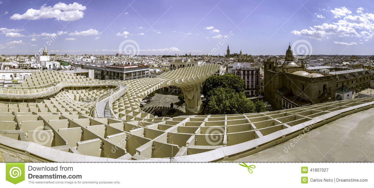 panoramic view in the top of metropol parasol in plaza de. Black Bedroom Furniture Sets. Home Design Ideas