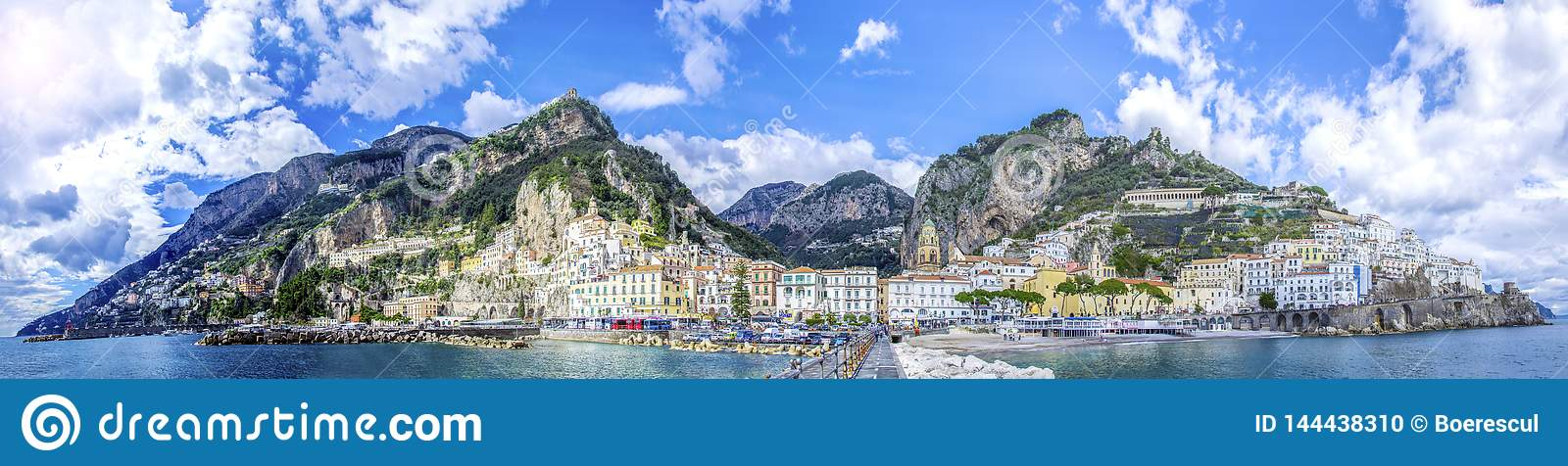 Panoramic view of the town of Amalfi on coast in Italy