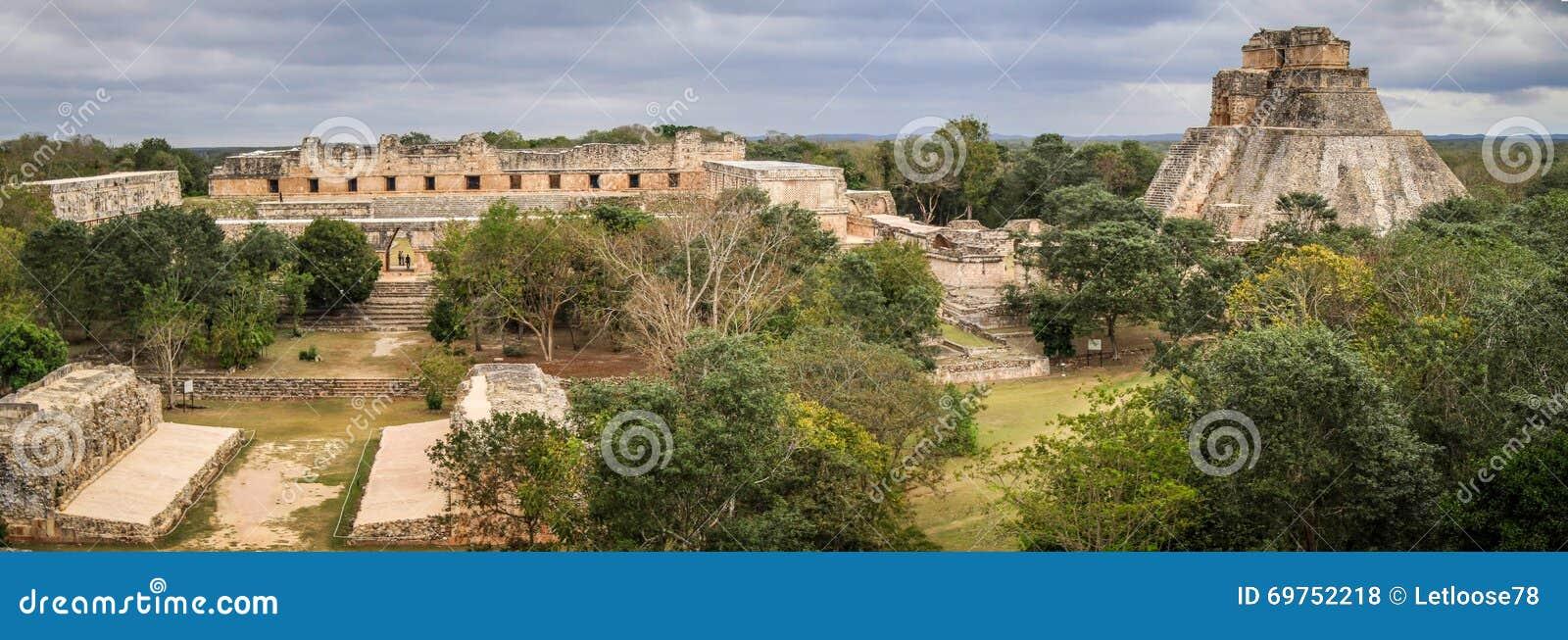 Panoramic view of Uxmal Ancient Maya city, Yucatan, Mexico