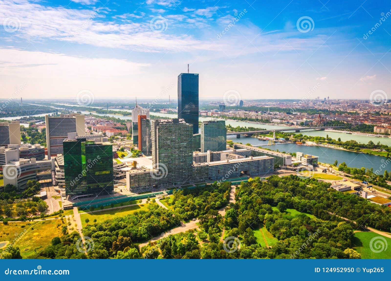 Panoramic view of Vienna business city center