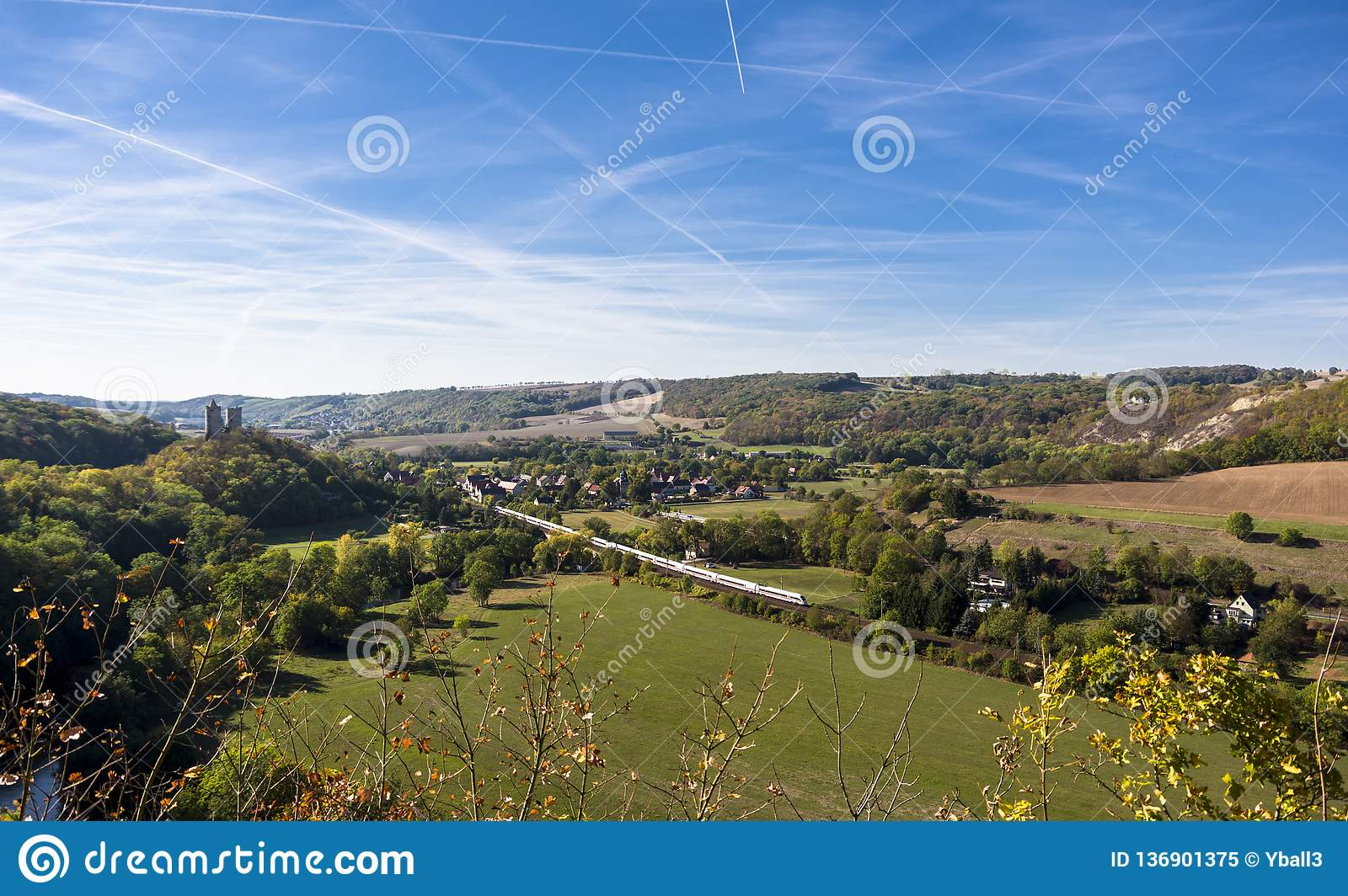 Panoramic view of the village of Saalek and the old fortress in the valley of the river Saale. Tourist place Sachsen-Anhalt, Germa