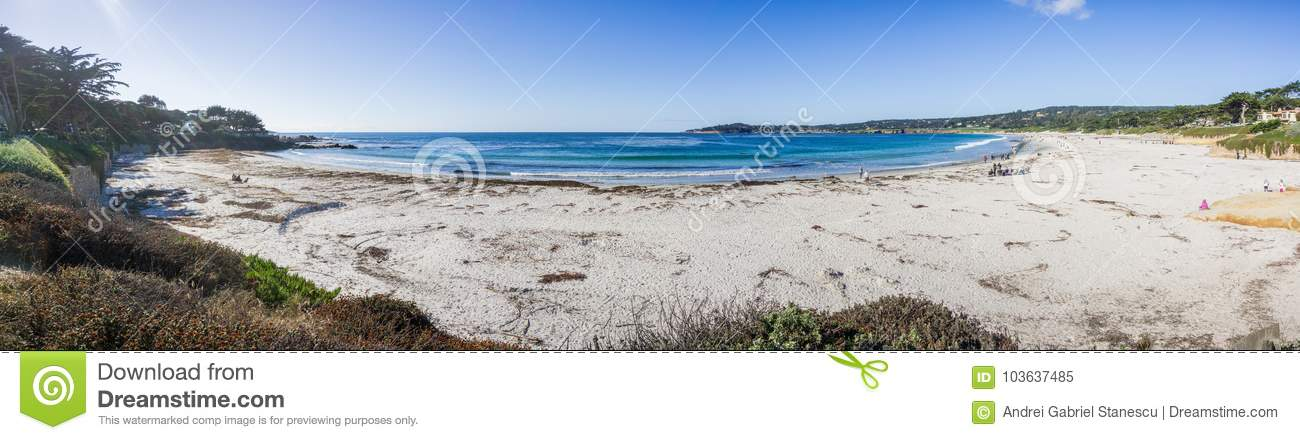 Panoramic view of Carmel State Beach, Carmel-by-the-sea, Monterey Peninsula, California
