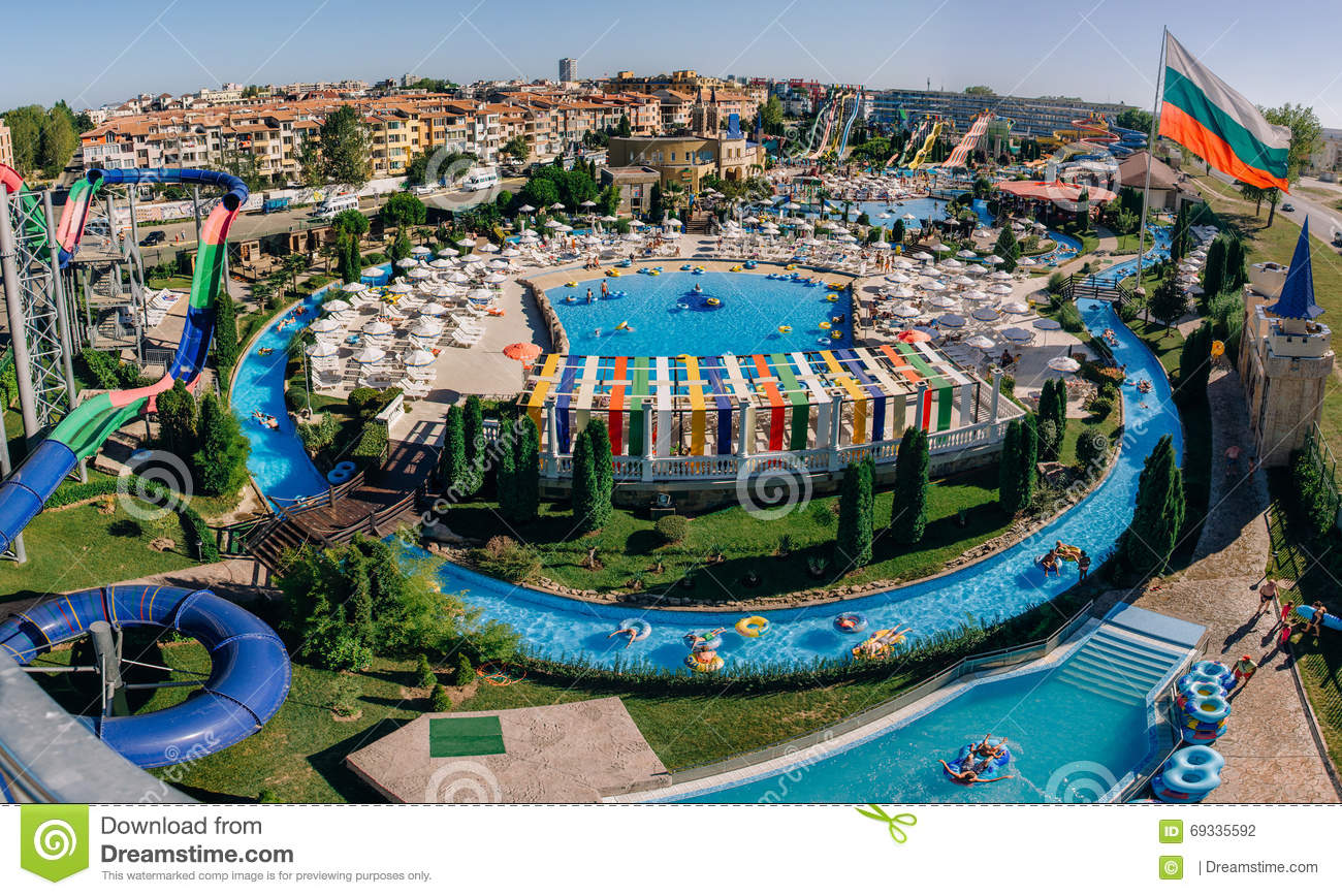 Panoramic View Of Water Park Action In Sunny Beach With