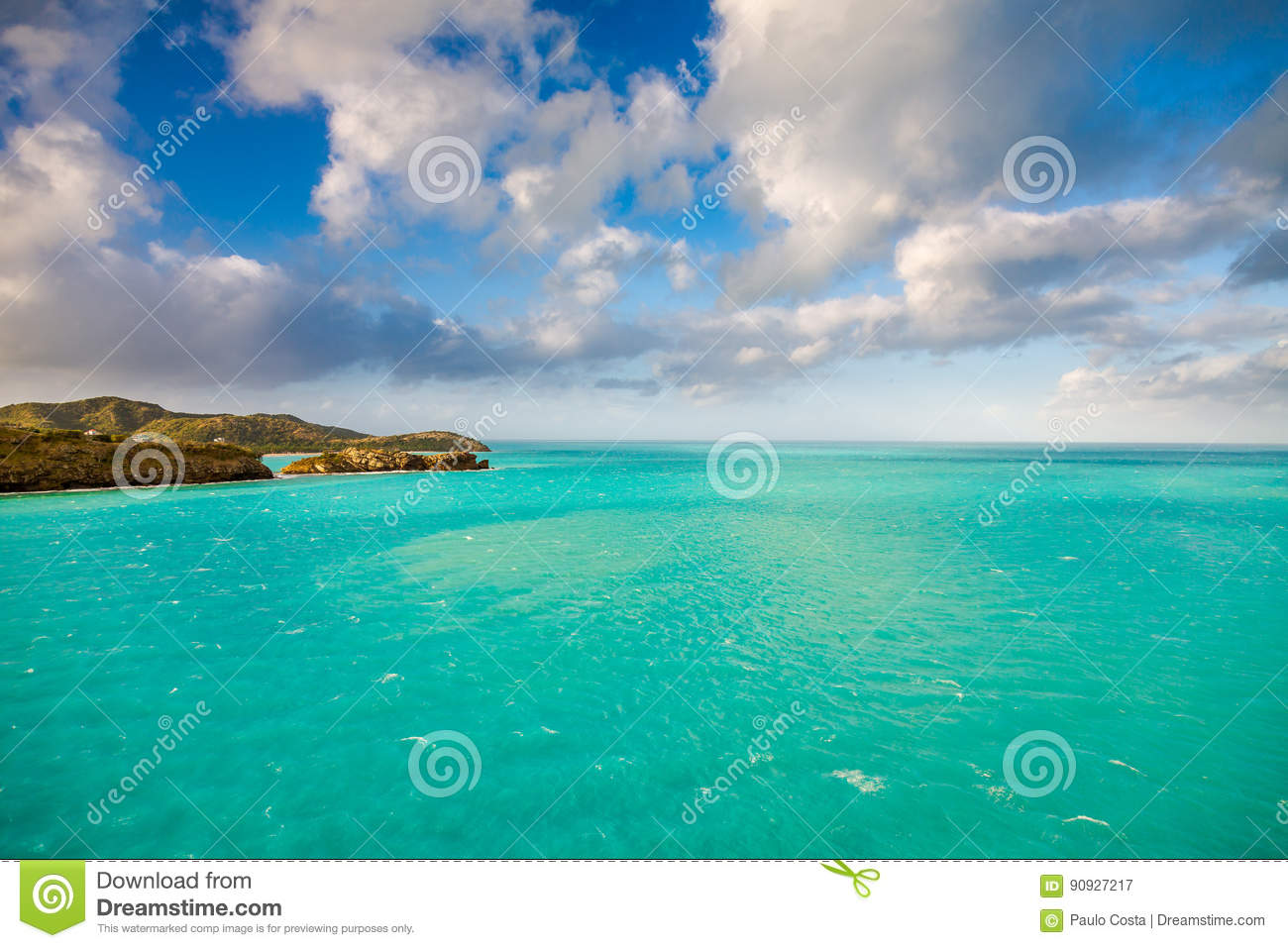 Panoramic view of the Water in St. John`s, Antigua and Barbuda