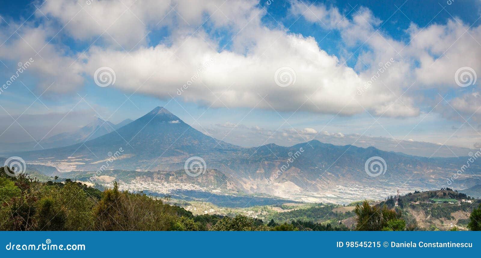 Panoramic vista of the volcanic mountain range near Antigua in Guatemala