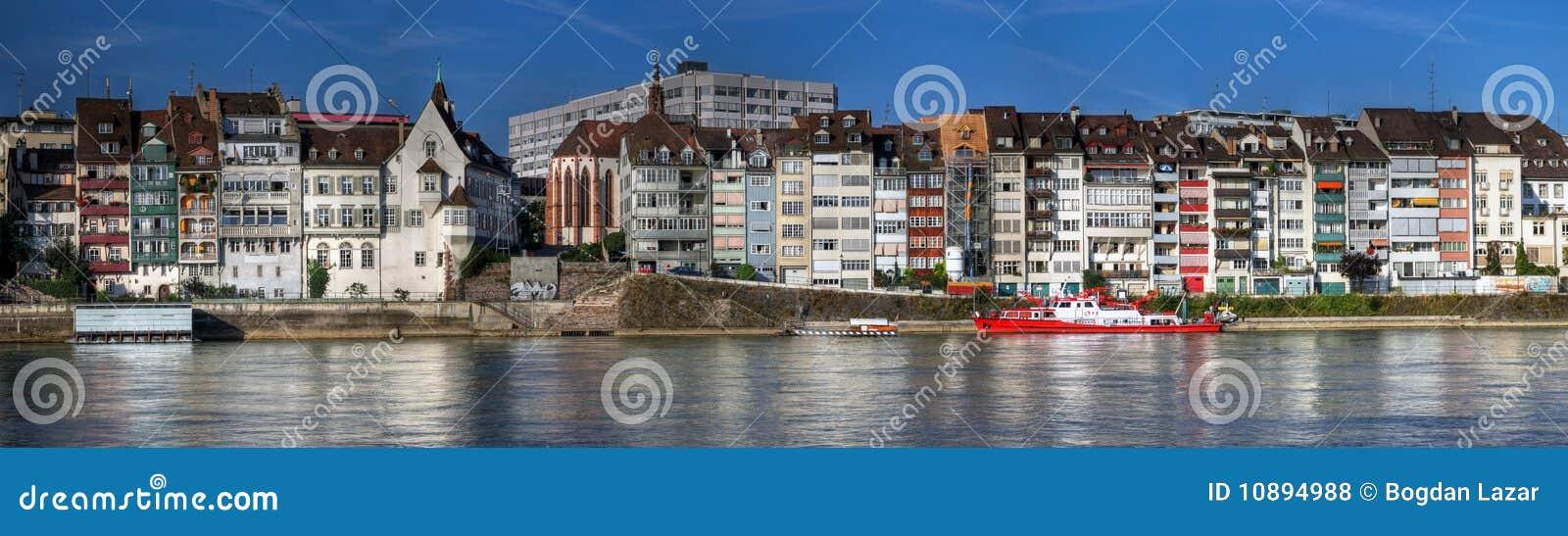Panoramic of waterfront houses, Basel, Switzerland