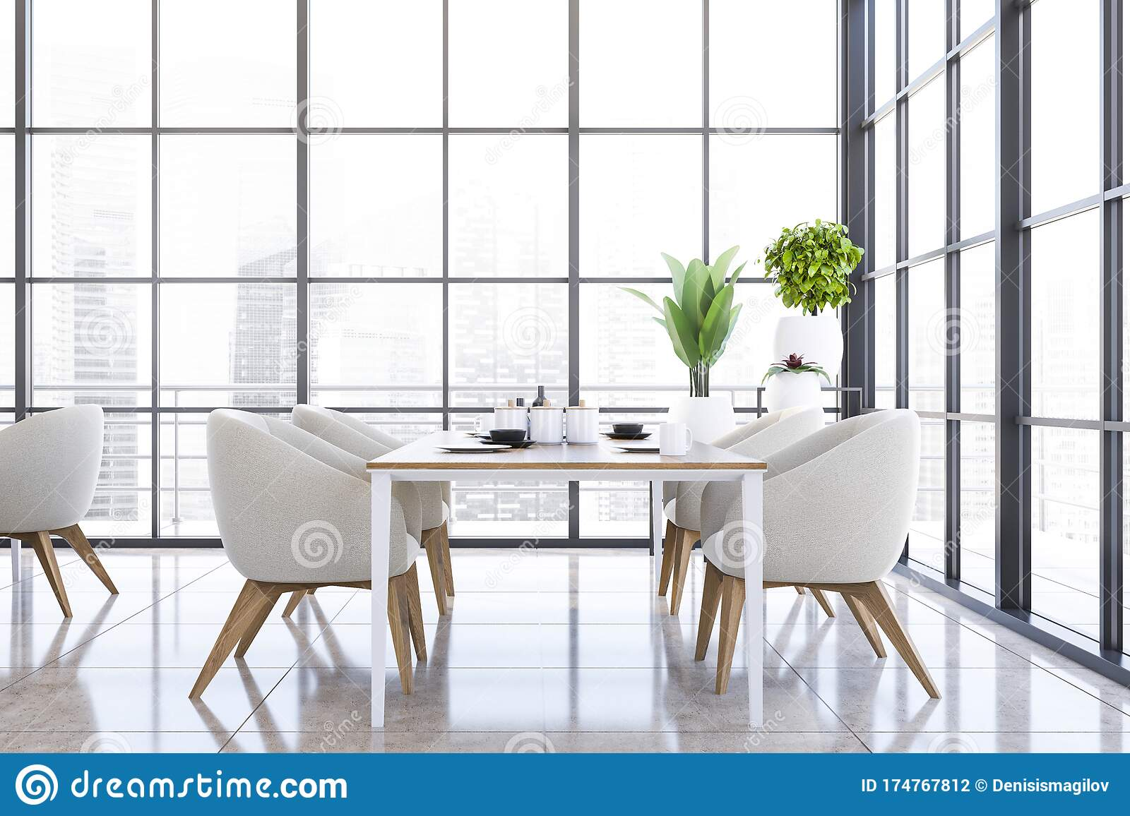 Picture of: Panoramic White Armchairs Dining Room Interior Stock Illustration Illustration Of Lamp Luxury 174767812