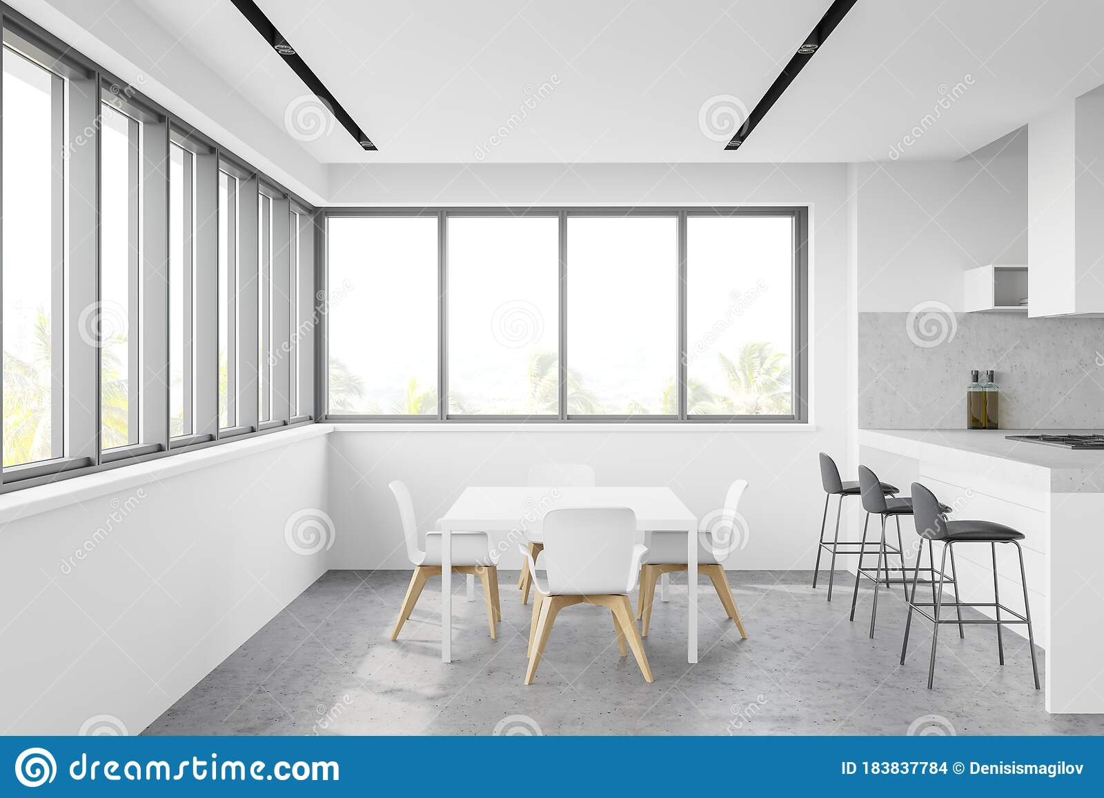 Panoramic White Kitchen With Bar And Table Stock Illustration Illustration Of Island Comfortable 183837784