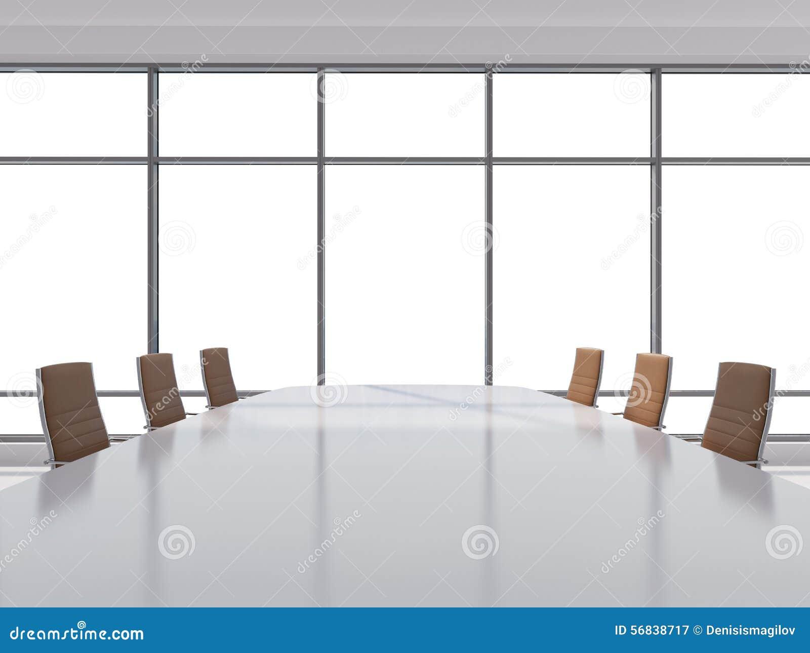 Panoramiczna sala konferencyjna w nowożytnym biurze, kopia astronautyczny widok od okno Brown rzemienni krzesła i stół