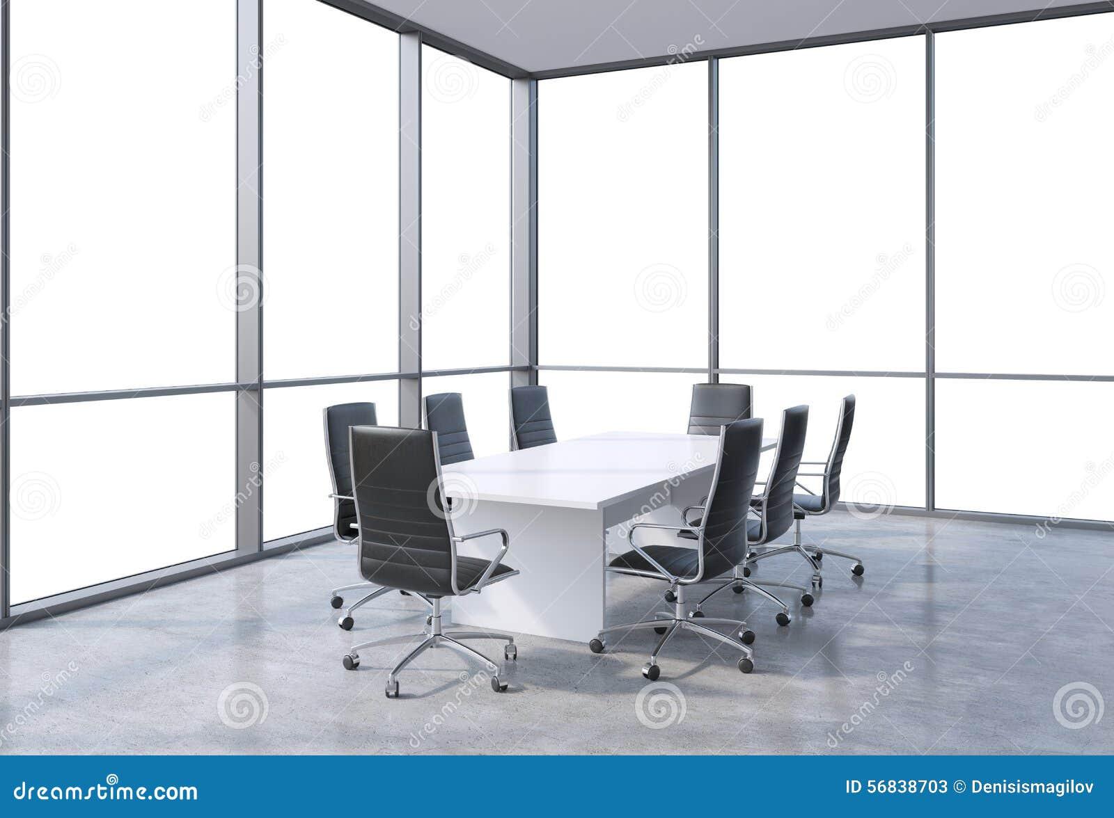 Panoramiczna sala konferencyjna w nowożytnym biurze, kopia astronautyczny widok od okno Czerni krzesła i biały stół