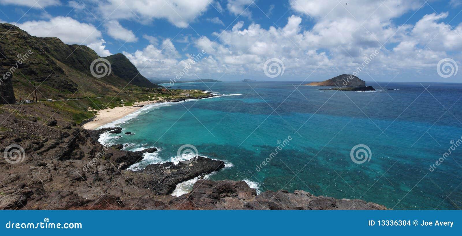 Panoramiczny Hawaii plażowy makapuu