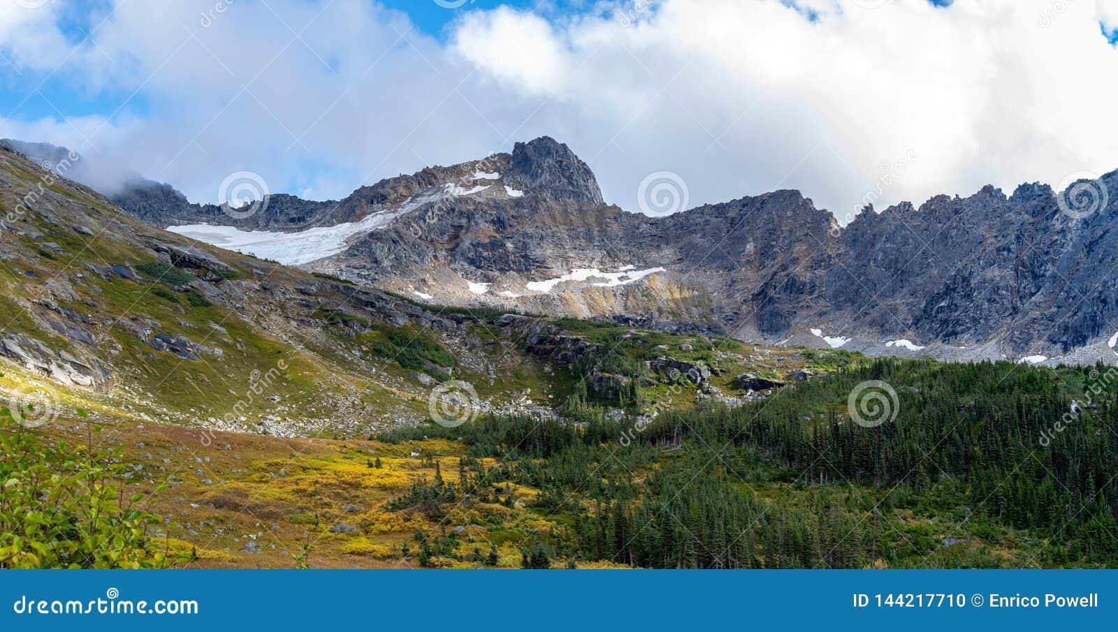 Panoramiczny krajobrazowy widok śnieg nakrywać góry i jesień barwimy drzewa