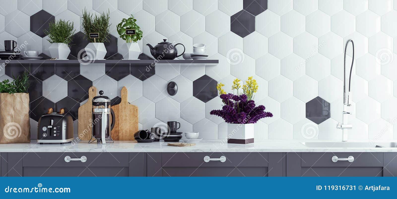 Panoramiczny nowożytny kuchenny wewnętrzny tło