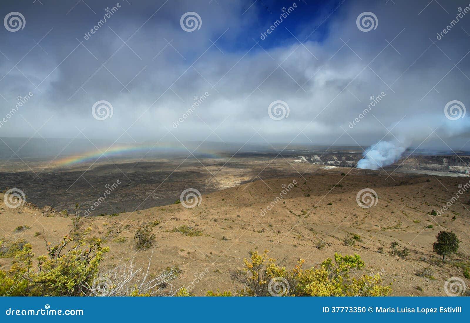 Panoramiczny widok aktywny Kilauea wulkanu krater