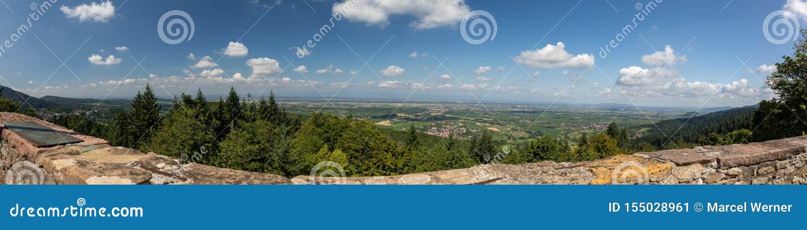 Panoramiczny widok Górna Rhine równina w Baden, Niemcy