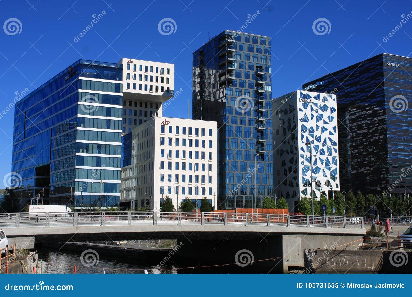 Panoramiczny widok Nowożytni budynki w Oslo, Norwegia