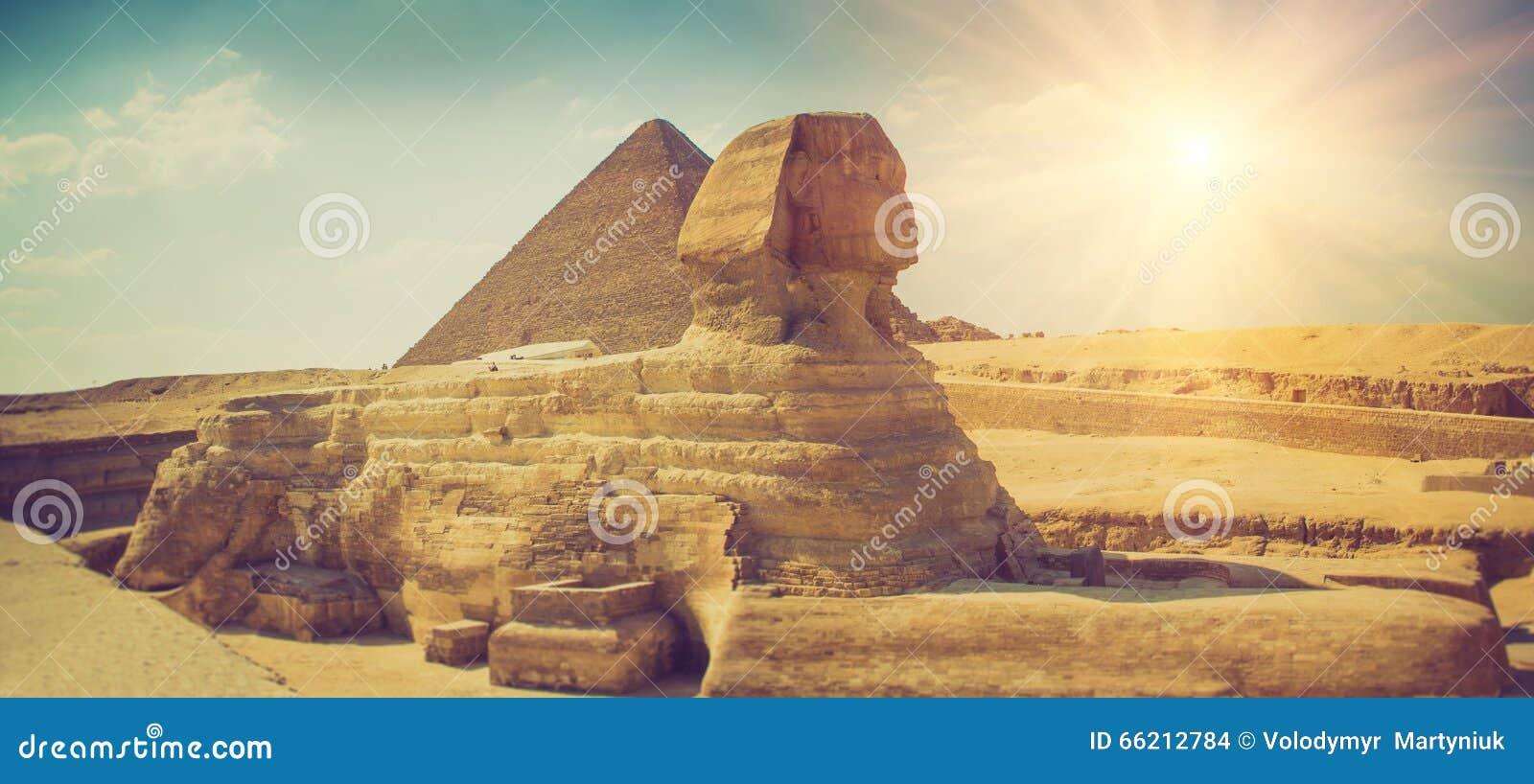 Panoramiczny widok pełny profil Wielki sfinks z ostrosłupem w tle w Giza Egipt